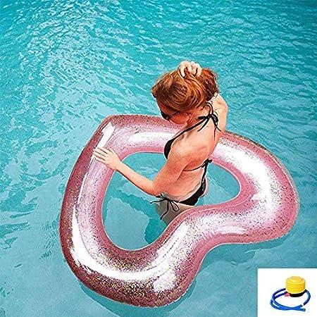 SXC Flotador Piscina Juguete Hinchable Anillo de Natación Forma Corazón con Lentejuelas Color Rosa,Natación Al Aire Libre,Anillo De Natación para Niños Adultos: Amazon.es: Hogar
