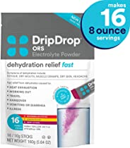 DripDrop ORS - Patented Electrolyte Powder for Dehydration Relief fast - For Heat Exhaustion, Hangover, Illness, Sweating & T