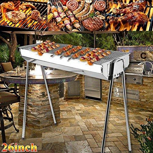 Foldable Shish Kabob Barbecue Charcoal Grill BBQ Kabab Shashlyk Stainless Steel