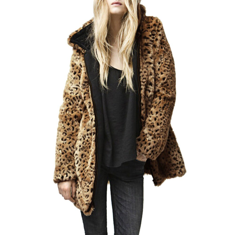 Women's Leopard Hooded Faux Fur Coat Fashion Long Winter Warm Jacket Outwear