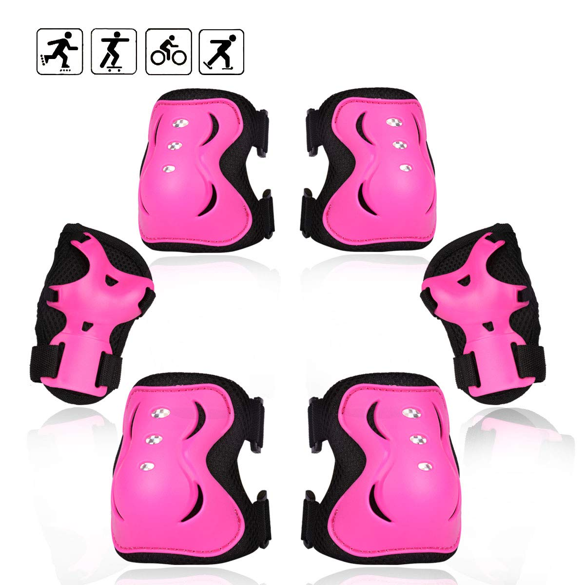 eNilecor Kid\'s Inline Skating Roller Blading Wrist Elbow Knee Pads Blades Guard Gift for Children\'s Day, Christmas Pack of 6(M,Hot Pink)
