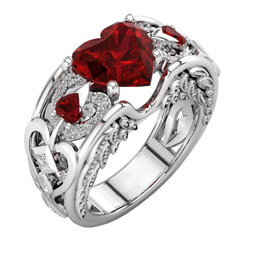 Hanican Silver Red Gemstones Birthstone Heart Shaped Ruby Engagement Ring