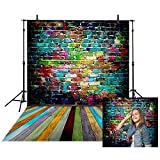 Allenjoy 5x7ft Polyester Photo Studio Backdrop Hip Hop Style Colorful Painted Grafitti Brick Wall Wood Plank Floor Professional Background Photography Decoration
