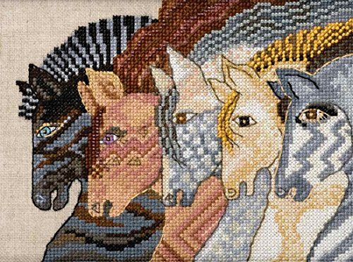 (Moroccan Mares Beaded Counted Cross Stitch Kit (Linen) Mill Hill 2017 Laurel Burch Horses Collection LB301712 )