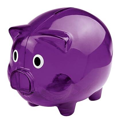 07207328b Image Unavailable. Image not available for. Color  eBuyGB Transparent  Plastic Piggy Bank   Money Box (Purple)