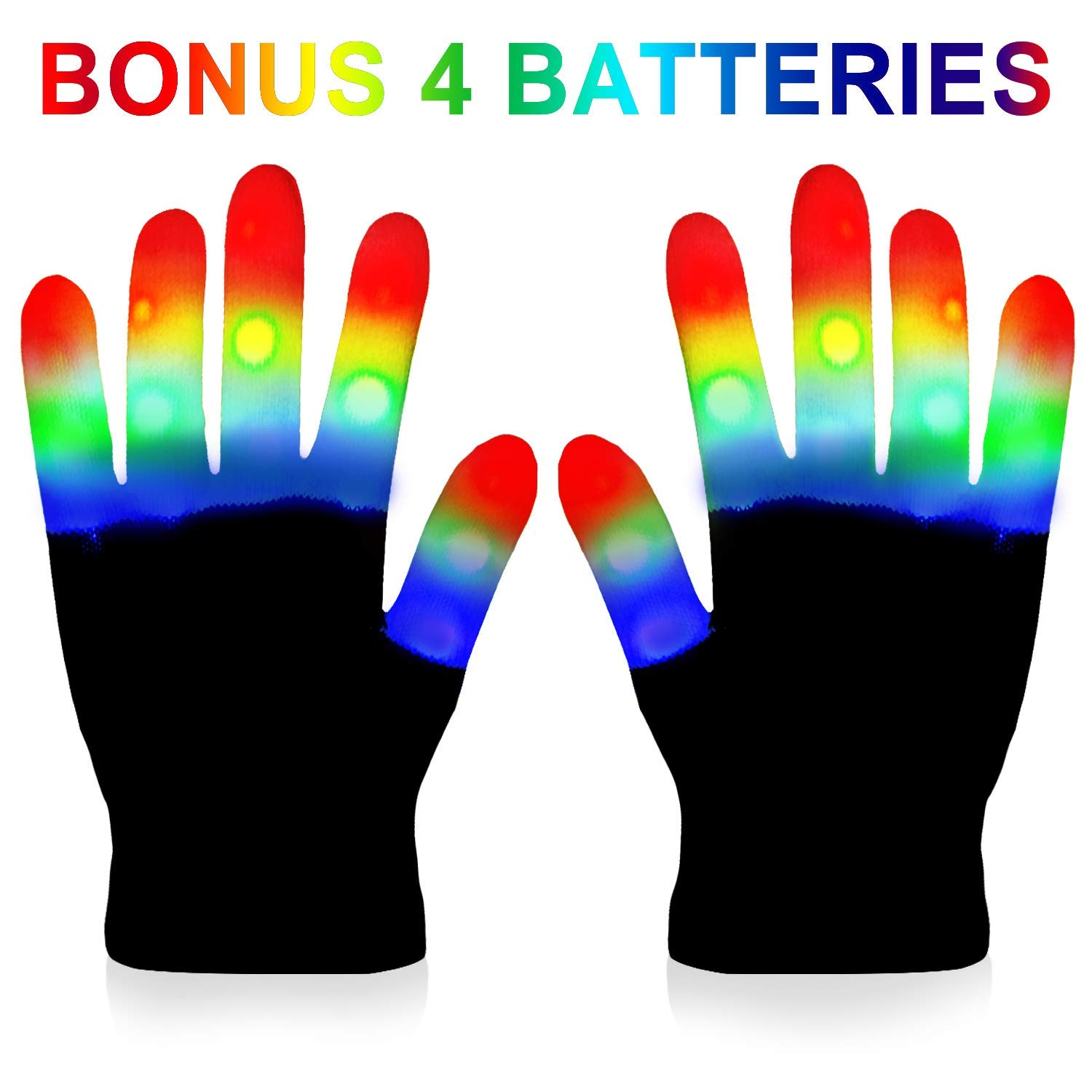 LED Gloves Kids Light Gloves Rave with 3 Colors 6 Modes for Kids LED Gloves for Halloween Party and Christmas Gift Extra Batteries Gift Box