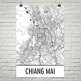 Carte de Chiang Mai, Art de Chiang Mai, Impression de Chiang Mai, Affiche de Chiang Mai en Thaïlande, Art Mural de Chiang Mai, Cadeaux thaïlandais, Carte de la Thaïlande 24'x36 Affiche de Chiang Mai en Thaïlande Cadeaux thaïlandais