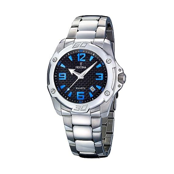 FESTINA F16386/2 - Reloj de caballero de cuarzo, correa de acero inoxidable color