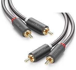 Ugreen Cable 2RCA a 2RCA de Audio Estéreo 3M Chapado en Oro para Home Theater, HDTV, Consolas de Juegos, Sistema HiFi, Bocina y Altavoz, 3 Metro