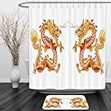 Vipsung Shower Curtain And Ground MatDragon Decor Twin Fire Dragon Zodiac&nbspStatues Traditional Asian Art Chinese&nbspPhilosophy Themed Picture Print GoldenShower Curtain Set with Bath Mats Rugs
