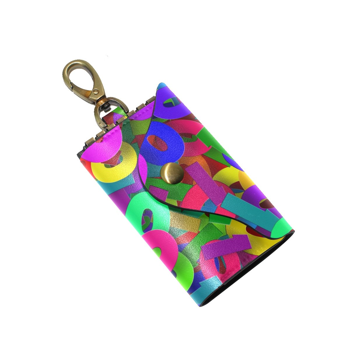 DEYYA Binary Digits Leather Key Case Wallets Unisex Keychain Key Holder with 6 Hooks Snap Closure