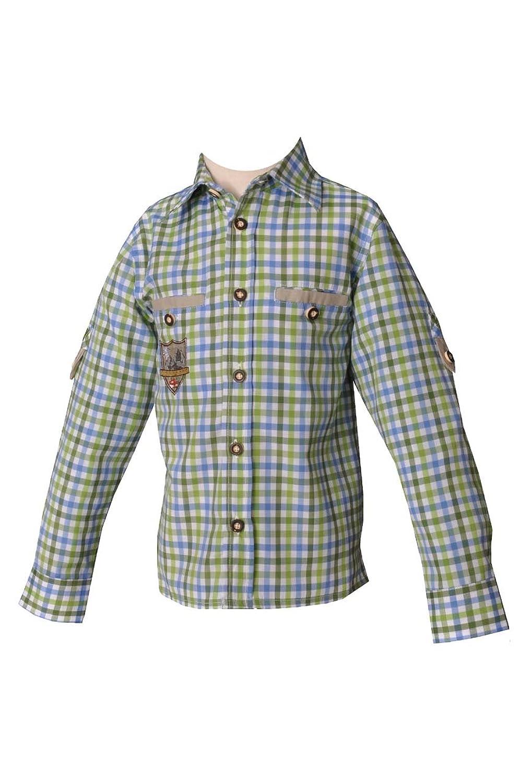 Kinder Trachtenhemd Fabian sky/apfel/gras Karo langarm Lekra