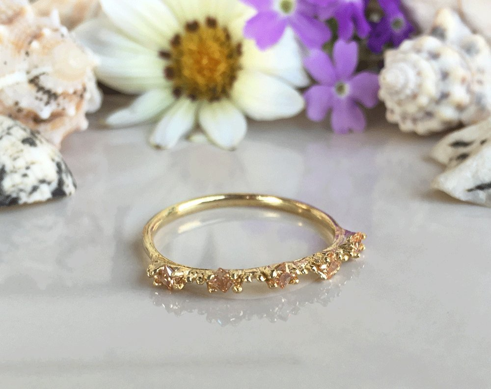 Simple Ring Citrine Ring Gemstone Ring November Birthstone Ring Stacking Ring Champagne Crystal Ring Tiny Ring