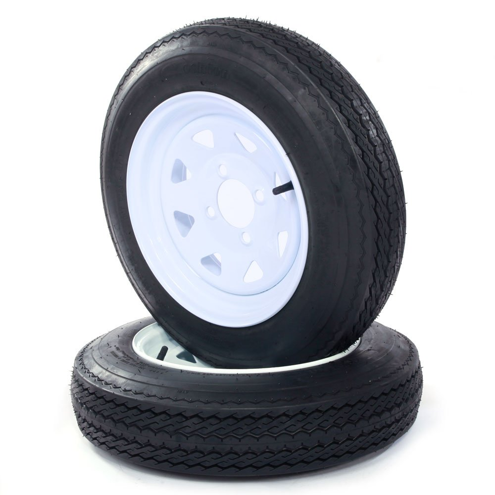 4.8-12-4PR-4LUG P811 4 Ply B Load Trailer Tires with Rims - 2 Pcs (Come with Car Trunk Organizer Cargo Storage Bin Bag)