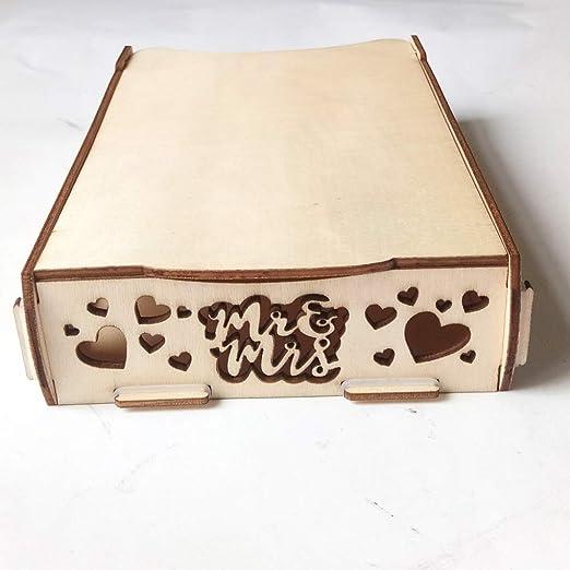 Zerama Invitación de Boda de la Caja del corazón Cuadro Titular Muestra de Madera Hueco Caja de Tarjetas de Regalo de Madera para el Libro de Cuadro de Mensaje: Amazon.es: Hogar