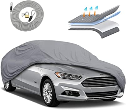 Motor Trend OC444 4 Layer Series Outdoor Car Cover Custom Fit for Ford Fusion 2006-2018 All Weather Protect Waterproof