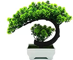 yoerm Mini Face Plant Decor - Artificial Bonsai Tree, Fake Plants - Welcome Pine Bonsai, for Home Decoration, Desktop Decor, Zen Garden Décor - Small Size: 8.2 x 8.2X 4.8 inch
