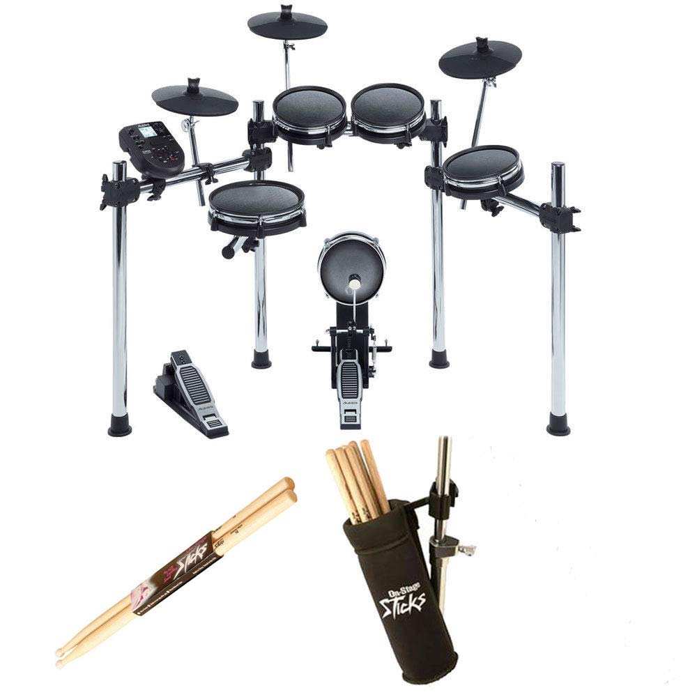 Alesis SURGE MESH KIT Eight-Piece Electronic Drum Kit with Mesh Heads + On Stage Drum Stick Holder DA100 & On Stage Maple Wood 5B (1 Pair) Of Drumsticks
