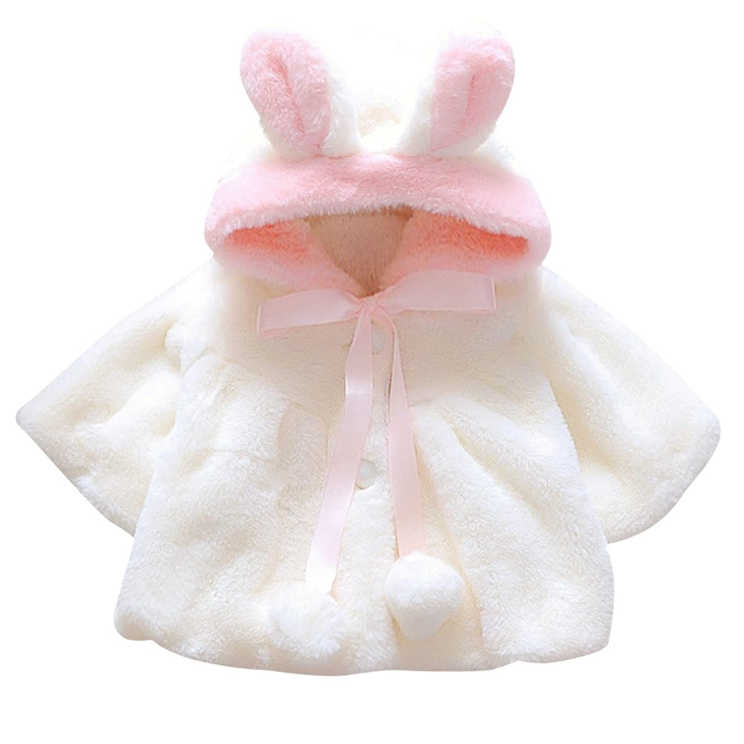 CHIC CHIC Newborn Infant Baby Girl Faux Fur Warm Winter Hooded Cape