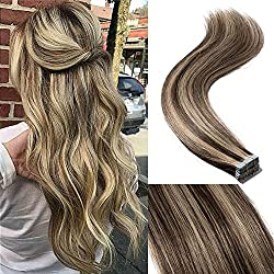 "18"" 40pcs 100g Remy Tape in Hair Extensions Human Hair 4P27 Balayage Straight Hair Seamless Skin Weft Invisible Double Sided Tape Two Tone Medium Brown Mix Dark Blonde"