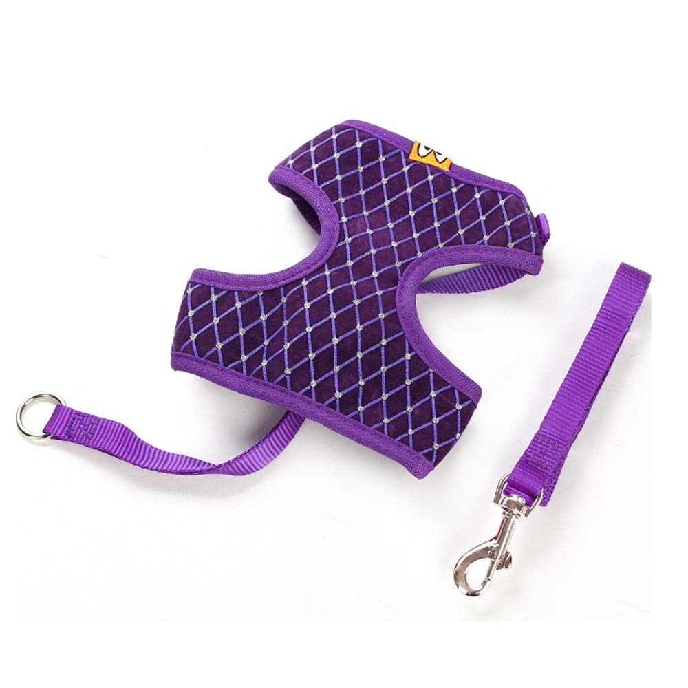 Purple Small purple Small Pet Chest Straps,Puppy Traction Rope and Lead Sets Small Dog Cat Pet Breathable Mesh Chest Strap for Outdoor Training Walking
