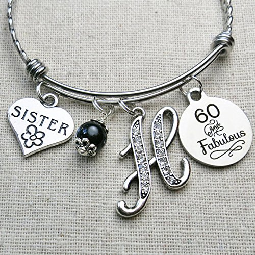 60th BIRTHDAY Gift 30th 40th 50th 55th 70th For Her Milestone Birthday Gifts Sister 60 And Fabulous Bangle