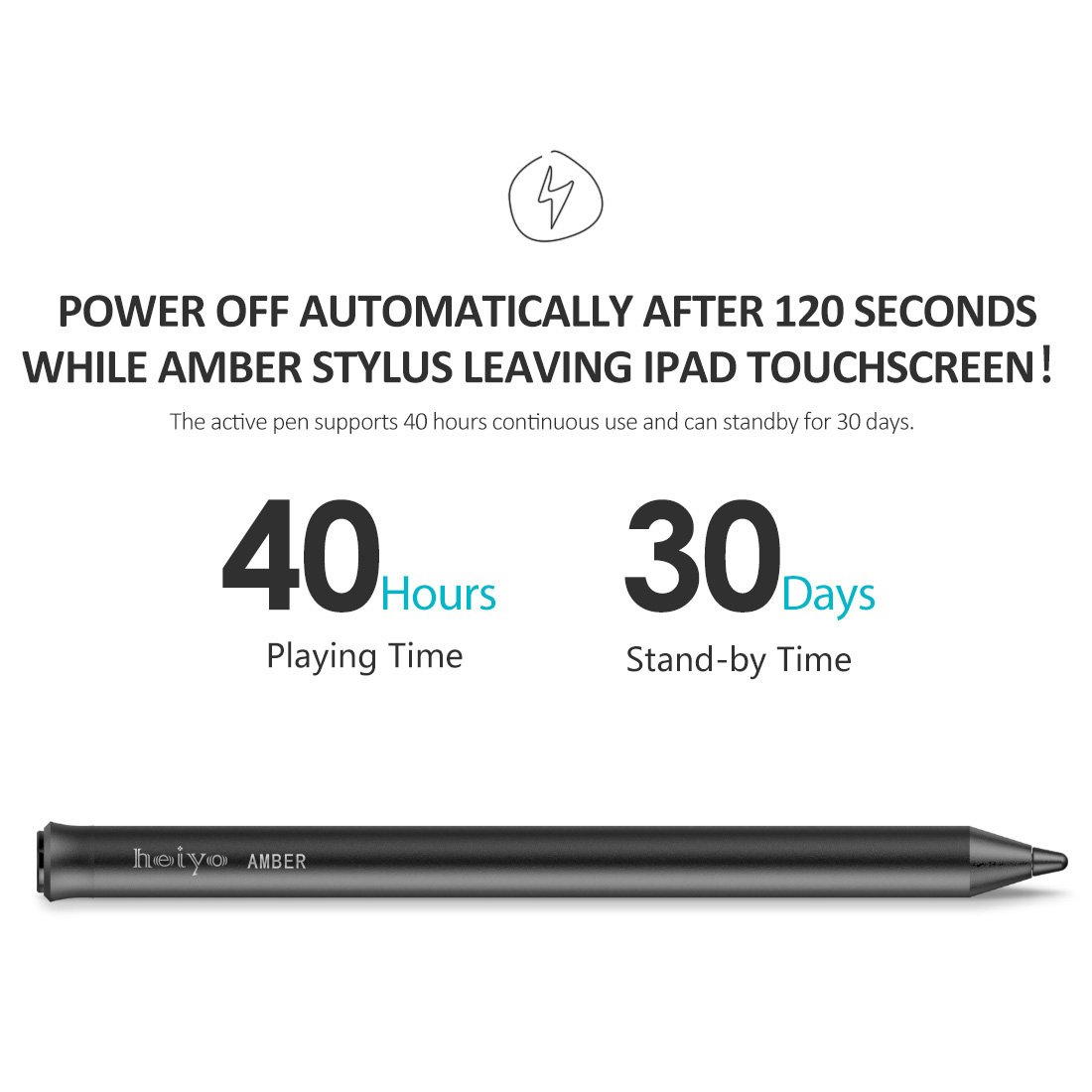 Heiyo iPad Active Stylus-Capacitive Digital Pen Supporting 40-Hour Playing Time 30-Day Stand 120-second Auto Power Off 3 Replaceable Fine Point Rubber Tips Touchscreen Styli Pencil iPad by Heiyo (Image #4)