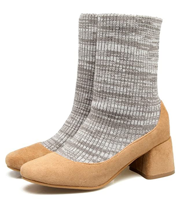 SHOWHOW Damen Socken Halbschaft Stiefeltte Mit Absatz Grau 40 EU 1yTkImc85