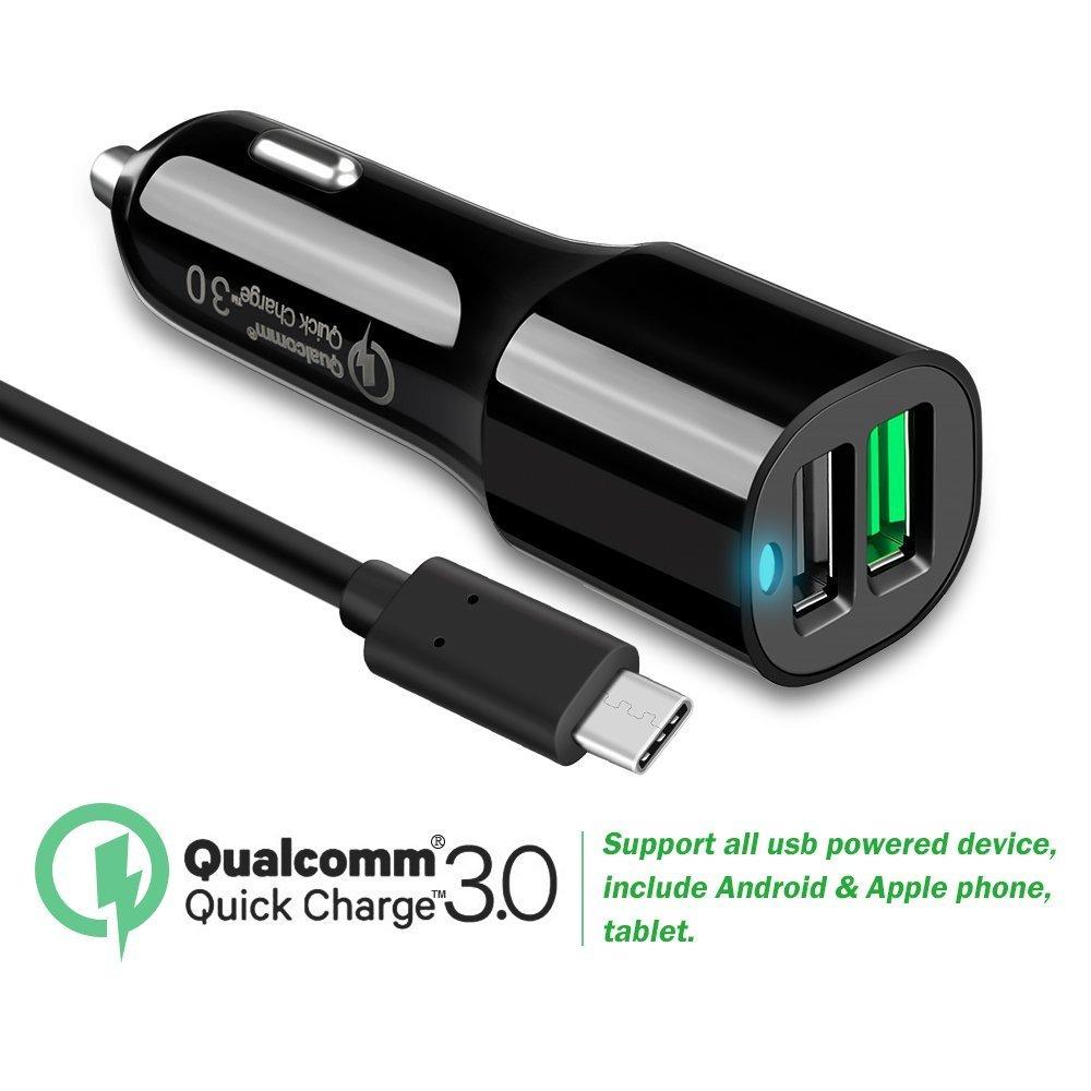 Quick Charge 3.0デュアルUSBポート車充電器with 5 ftタイプCケーブルfor Samsung Galaxy s8 XZプレミアムアクティブ、Sony Xperia、r1、X、xa1、HTC 10 / u11 /再生、BlackBerry Keyone、Nokia 8 / 7、ZTE Axon 7 / Mini、ZMAX Pro B079Q6RYTH