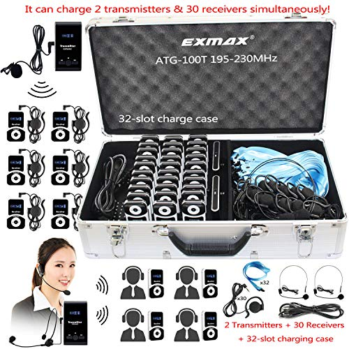 affordable EXMAX ATG-100T 195-230MHz Wireless Tour Guide Monitoring Voice Audio Transmission System+Aluminium Alloy Charge Case for Teaching Tour guides Conference Church Museum(1 Transmitters and 30 Receivers)