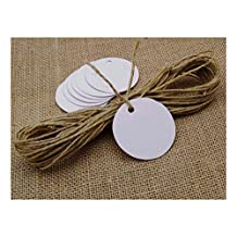 100 PCS Round Shape Blank White Hang Tags White Card PaperWedding Favor Tags with Free Natural Jute Twine