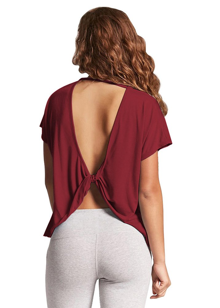 Mippo Women's Sexy Backless Workout Tops Loose Short Sleeve Twist Open Back Shirts Cute Flowy Plain Summer Beach Top Yoga Crop Tops Junior Wine Red S