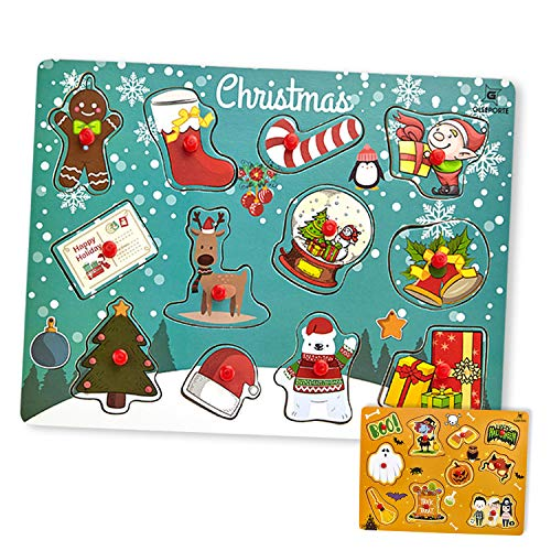 Christmas | Halloween | Wooden Peg Puzzle, Holiday Theme - Pack of 2 Learning Educational Pegged Puzzle Boards for Toddler & Kids (Set of 2) | Great Gift for Kids