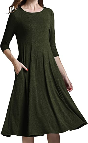 d0ee814164 Yige Women's Classic A-line Pocket Midi Dress 3/4 Sleeve Knit Fit and