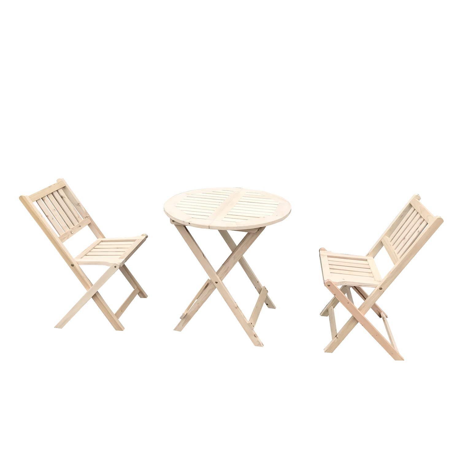 UHOM 3PCS Wooden Folding Chair and Table Outdoor Garden Wood Slat Seat Dining Set Deck Patio Bistro Furniture