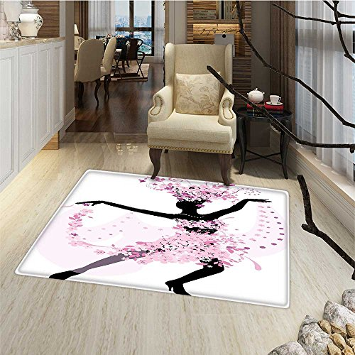 Latin Bath Mats Carpet Silhouette of a Woman Dancing Samba Salsa Latin Dances Spain and Mexico Culture Print Door Mats for inside Bathroom Mat Non Slip Backing 24''x48'' Pink Black by Anmaseven