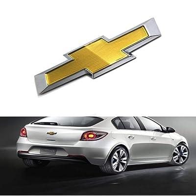 car sales 2011-2014 Chevy Cruze Rear Bumper Emblem Gold Chrome Grille Badge Grill Sign Symbol Logo (Original, rear): Automotive