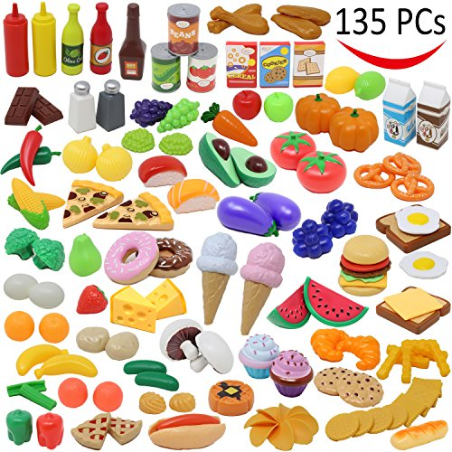 joyin toy 135 pieces kitchen set, market educational pretend play food toddlers inspires imagination, children kid playset