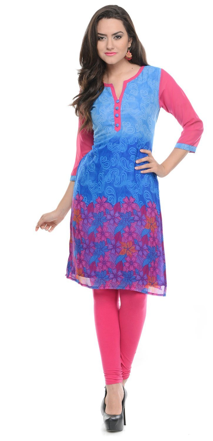 Maple Clothing India Tunic Top Long Kurti Georgette Womens Printed Wear lngkcf-910-kmp