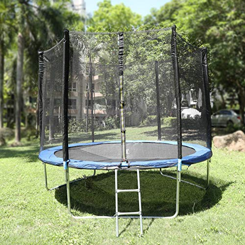 Large trampoline with safety enclosure net