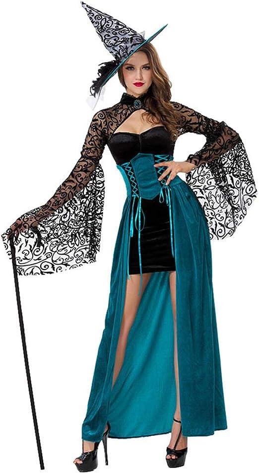 ALXDR Disfraz De Bruja De Halloween para Mujer con Sombrero De ...