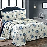 quilts in blue - Alicemall Ocean Theme Bed in a Bag Blue Shell and Starfish Print White Comforter Set 100% Cotton Bedspread/ Quilt Set, 3 Pieces, Queen/King Size (Blue & White)