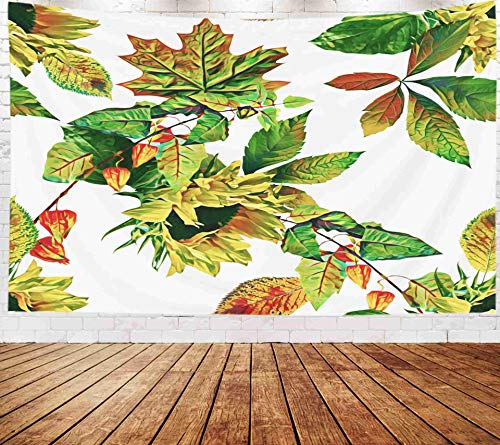 (Bisead Wall Art for Bedroom Tapestry, Map Art Tapestry 80x60 inchs Autumn Plants Pattern Watercolor Wall Hanging Gifts for Bedroom Dorm Décor)