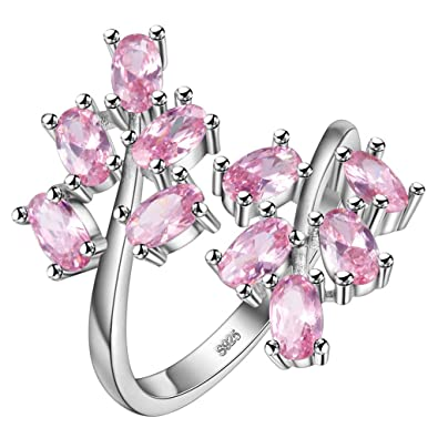 dcd86a226 HMILYDYK Women Crystal Adjustable Rings Oval Cut Pink White Sapphire  Gemstone S925 Sterling Silver Plated Ring: Amazon.co.uk: Jewellery