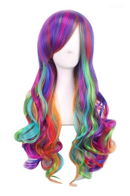 Peluca con colores del arco iris, pelo largo ondulado y rizado en las puntas,
