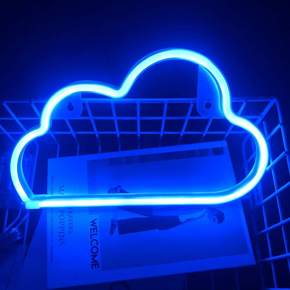 Blue Cloud Neon Signs LED Light Home Decor in Home Kitchen Bedroom Battery USB Cable Operated Cloud Neon Sign Lights Plug in Wall Decor for Christmas Birthday Party Kids Room Living Room Child Gift
