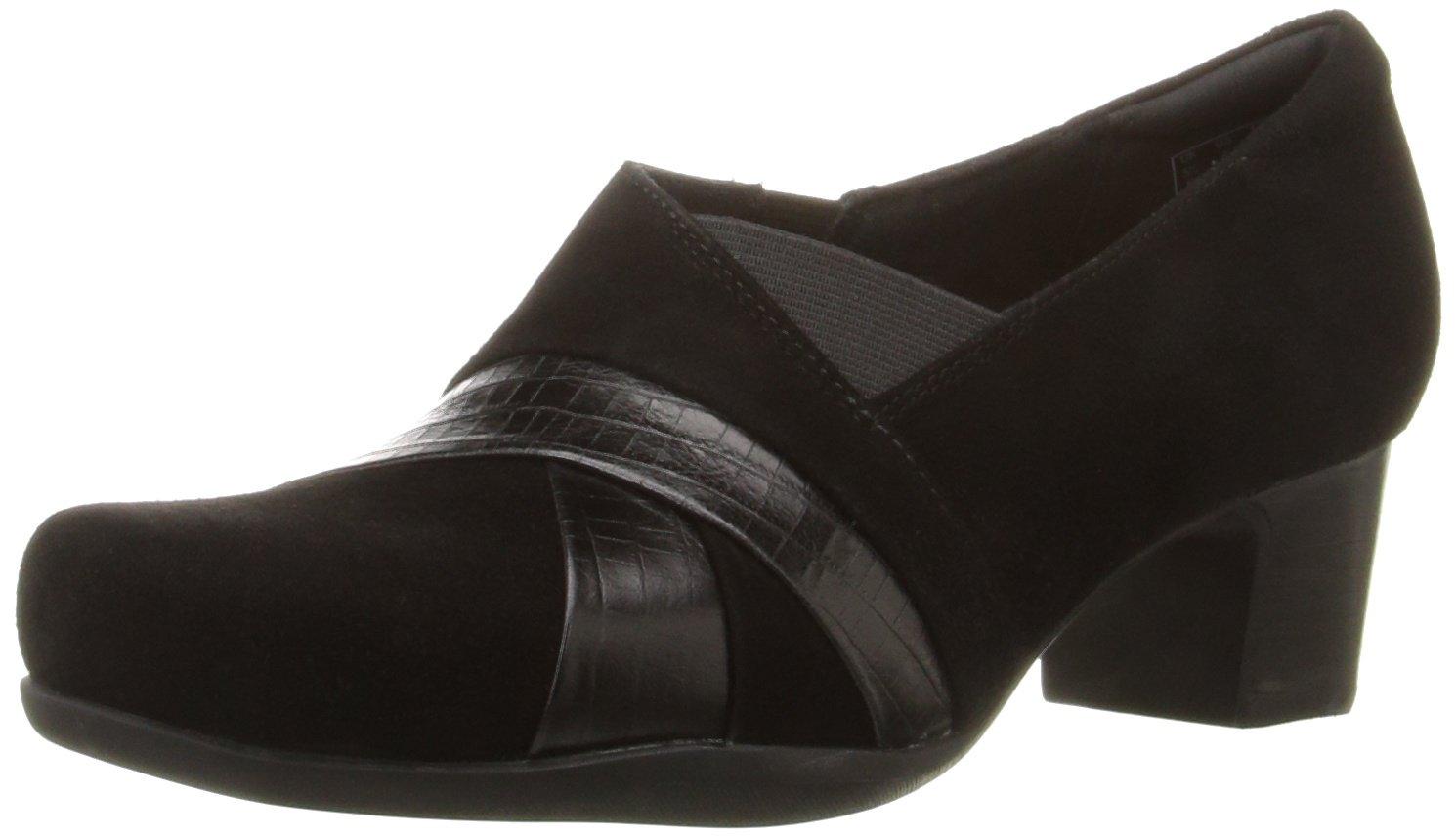 CLARKS Women's Rosalyn Adele Slip-On Loafer, Black Suede, 6 W US