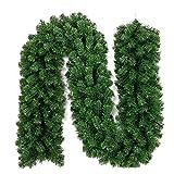 2.7M Long Christmas Garland Pine Wreath Thick Mantel Fireplace Cane Plain Green Decoration 25cm