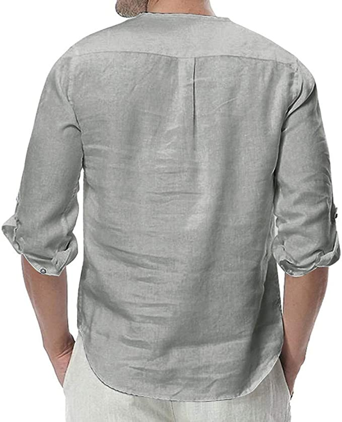 Misaky Camisas para Hombre Summer Hawaiian Loose Solid Color Short Sleeve Button Pocket Shirts for Men