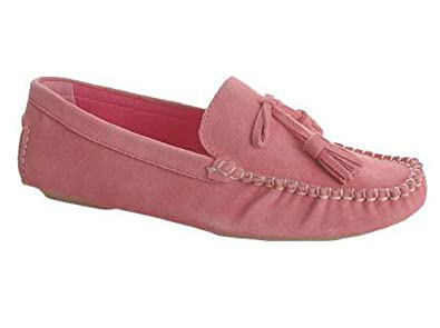 Casual Barn Womens Casual Stylish Leather and Suede Loafer Moccasin Slipper Shoe (6, Rose